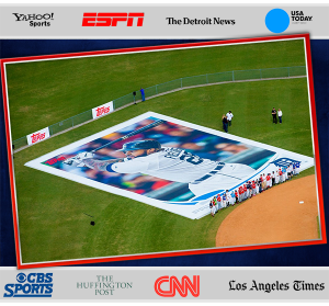 """world's largest baseball card"" to promote Topps Series I 2013 baseball cards"